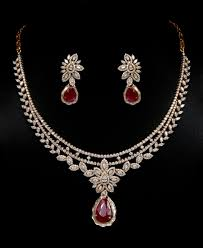 diamond necklace set images Diamond and ruby necklace set vummidi bangaru jewellers jpg