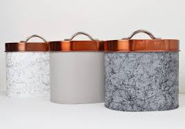 copper kitchen canisters tea coffee and sugar tin canisters copper grey marble
