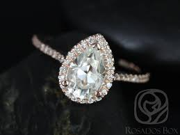 Halo Wedding Rings by Rosados Box Tabitha 9x6mm 14kt Rose Gold Pear F1 Moissanite And