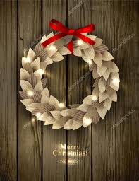 christmas wreath made of paper leaves in eco country style