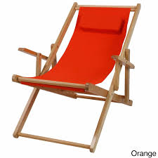 Recliner Patio Chair Patio Portable Recliner Wooden Beach Chair Back Sling Support Pool