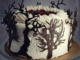 black trees for halloween black forest cake with chocolate trees food