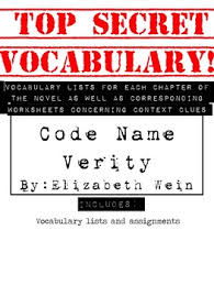 code name verity vocabulary lists and worksheets common core aligned