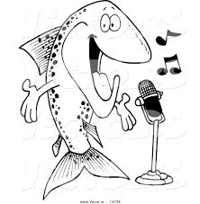 fish outline coloring page vector of a cartoon musical trout singing coloring page outline