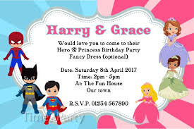 dress invitations personalised hero and princess birthday party invitations fancy