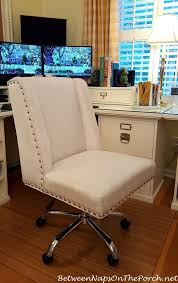 white upholstered office chair finally a comfortable chair for my home office porch office