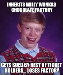 Charlie And The Chocolate Factory Meme - bad luck brian wins and then fails imgflip