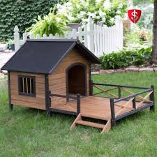 large outdoor dog house pet shelter raised porch wooden deck puppy