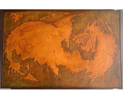leather map large map custom carved leather map 11x17