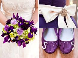 purple and green bridal bouquet cream sash with brooch on