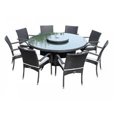 Outdoor Table Lazy Susan by Large Round 8 Seat Garden Table And Lazy Susan Set In Black And