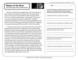 phases of the moon reading comprehension worksheets
