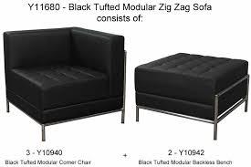 tufted modular 5 seat zig zag sofa