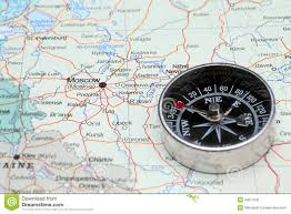 Moscow Russia Map Travel Destination Moscow Russia Map With Compass Stock Photo