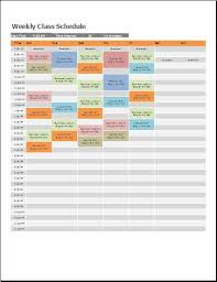 Schedule Excel Templates Ms Excel Weekly Class Schedule Template Formal Word Templates