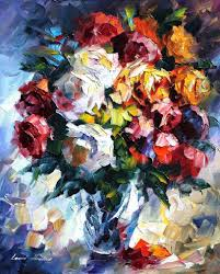 roses u2014 palette knife oil painting on canvas by leonid afremov