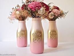 Gold Centerpiece Vases Pink And Gold Ombre Party Decor Centerpiece Painted Milk Bottle