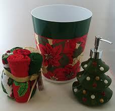 Christmas Bathroom Decor Sets by Fun Christmas Bathroom Decor Sets Bundle Set Poinsettia Holiday