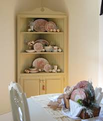 Dining Room Corner Table by Funiture Lovely Ceramic Plates In Cream Corner China Cabinets