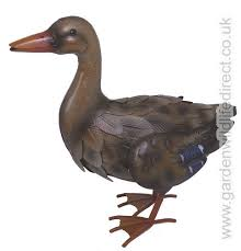 duck garden bird metal ornament