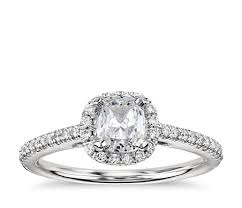 cushion diamond ring cushion cut halo diamond engagement ring in 14k white gold 1 4 ct