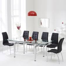 Black Glass Extending Dining Table Calgary Glass Extending Dining Table With 8 Black Chairs