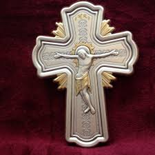 wooden wall crucifix orthodox christian wall crucifix sterling silver cherry wood 6