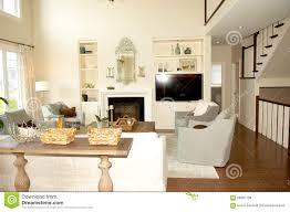 living room with fireplace and stairs stock photo image 58587738