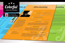 Indesign Resumes Colorful Indesign Resume Resume Templates Creative Market