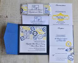 pocket fold wedding invitation design fee navy silver and