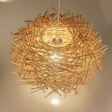 Creative Lighting Fixtures Nordic Hand Woven Cany Art Creative Lamp Wood Lamps Lighting E27