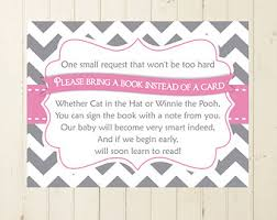 bring a book instead of a card baby shower matching insert card bring a book instead of a card book