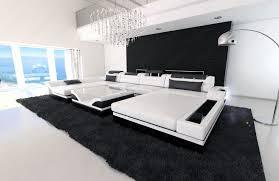 big sofa schwarz big sectional sofa monza u shaped with led lights white black ebay