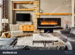 furnished living room luxury home roaring stock photo 234090589