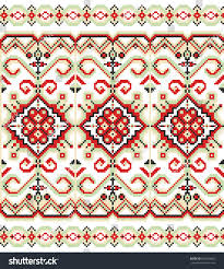 ukraine pattern vector embroidered handmade crossstitch ethnic ukraine pattern stock vector