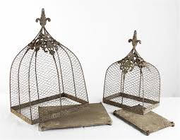 Bird Cage Decoration Rustic Wire Decorative Bird Cages Set Of 2 Kathy Kuo Home