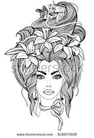woman flowers tattoo art nouveau woman stock vector 613369691