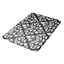 black and white damask bath mats u0026 rugs zazzle