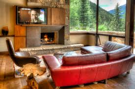 red couch tv room