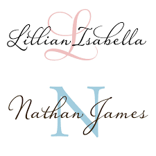 monogram wall decals for nursery large baby name and initial monogram for nursery vinyl wall decal
