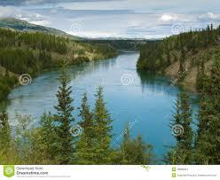 Yukon River Map Swing Bridge Across Miles Canyon Of Yukon River Stock Photo