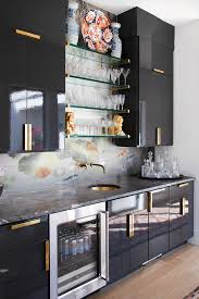 kitchen wall cabinets black gloss home bar with koi wallpaper backsplash and black high gloss