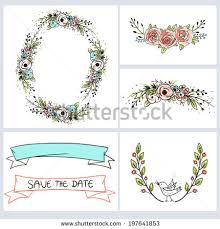 wedding invitation cards template vector floral stock vector