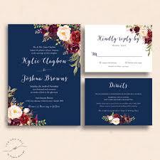 navy wedding invitations navy floral wedding invitations navy wedding invite marsala