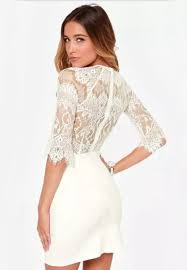 white lace dress white half sleeve lace bodycon dress abaday