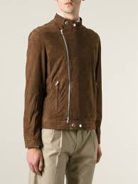 perforated leather motorcycle jacket brunello cucinelli perforated leather jacket in brown for men lyst