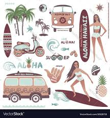surf car clipart set of vintage style hawaiian summer icons surf vector image