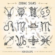 set of hippie and bohemian style hand drawn zodiac signs stock