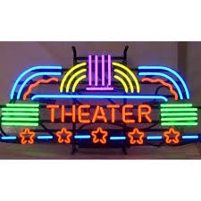 home movie theater signs neon sign theater home theatre art deco on metal grid ebay