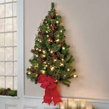 wall christmas tree classic christmas pre lit wall tree 3 improvements